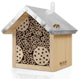 WILDLIFE FRIEND | Bienenhotel mit Metalldach, Wildbienen Insektenhotel - Fertig...